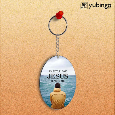 Jesus is with Me Oval Key Chain-Image2