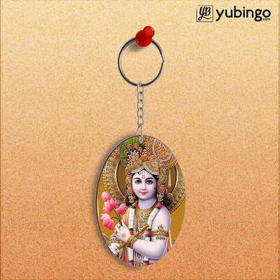 Krishna With Flowers Oval Key Chain-Image2