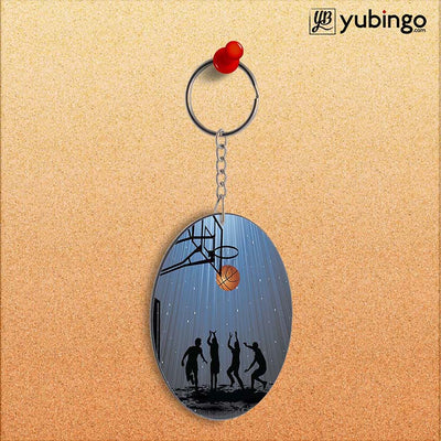 Let's Play Basketball Oval Key Chain-Image2