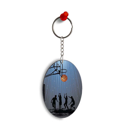 Let's Play Basketball Oval Key Chain