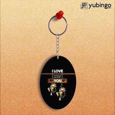 Love Hanging Out Oval Key Chain-Image2