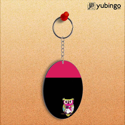 Lovely Owl Oval Key Chain-Image2