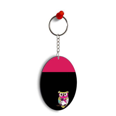 Lovely Owl Oval Key Chain