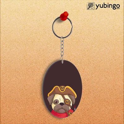 Mafia Pug Oval Key Chain-Image2