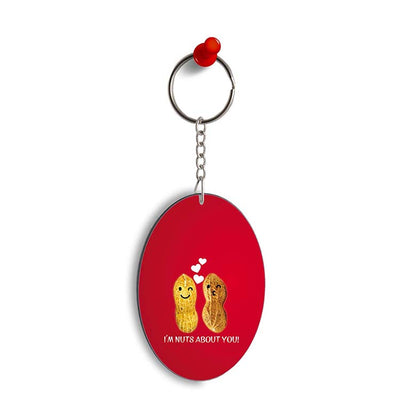 Nuts About You Oval Key Chain