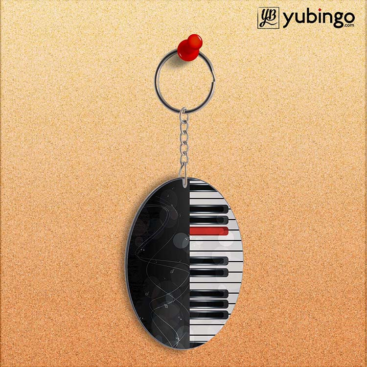 Piano Oval Key Chain