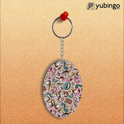 Pink Ice Cream Oval Key Chain-Image2
