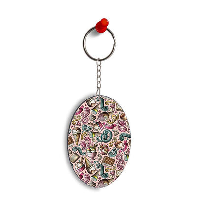 Pink Ice Cream Oval Key Chain