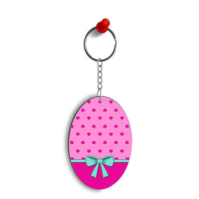 Pink Knot Oval Key Chain