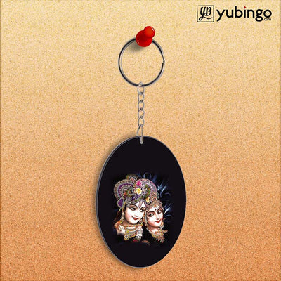 Radha And Krishna Oval Key Chain-Image2
