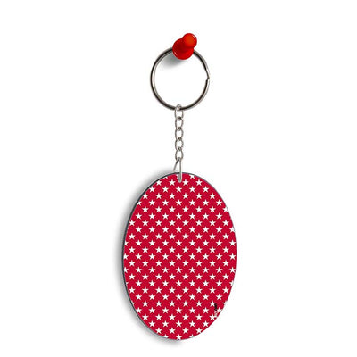 Red Stars Oval Key Chain
