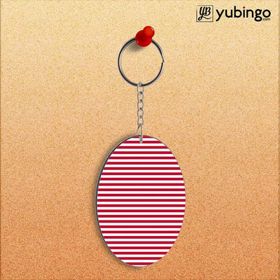 Red Stripes Oval Key Chain-Image2