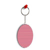 Red Stripes Oval Key Chain