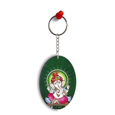 Shubh Labh Oval Key Chain