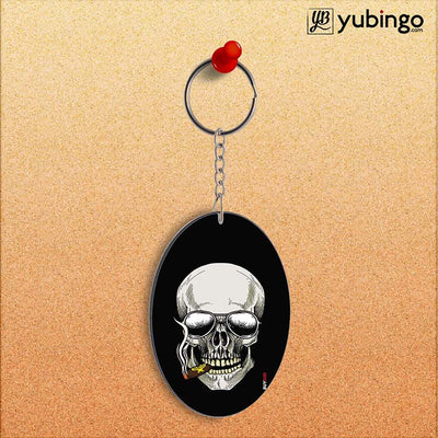 Smoking Skull Oval Key Chain-Image2