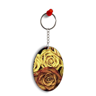 So Many Rose Oval Key Chain
