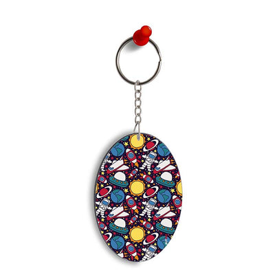Space Journey Oval Key Chain