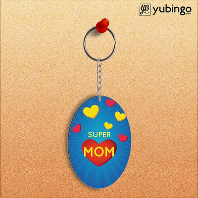 Super Mom with Big Heart Oval Key Chain-Image2