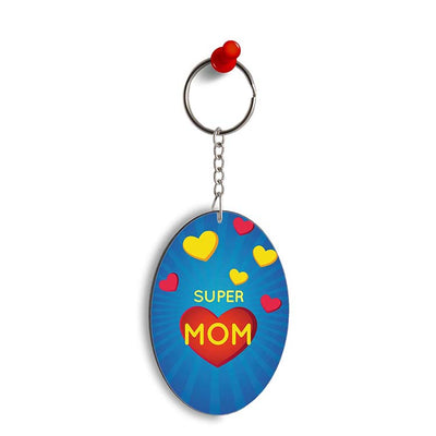 Super Mom with Big Heart Oval Key Chain