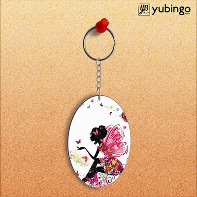 The Pixie With Her Butterflies Oval Key Chain-Image2