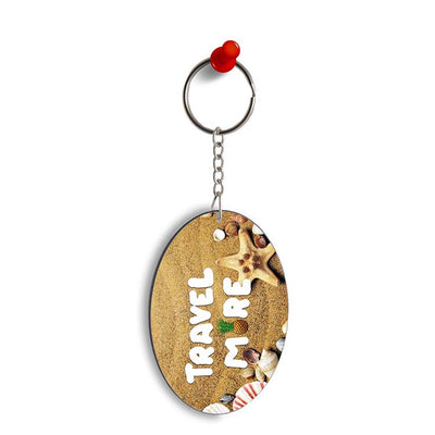 Travel More Oval Key Chain