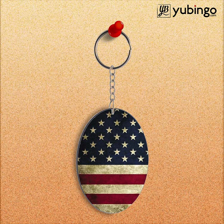 US Flag Theme Oval Key Chain