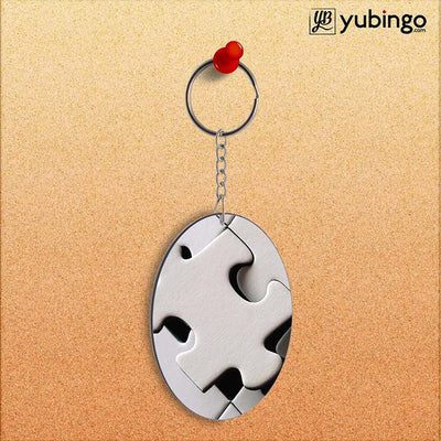 White Stylish Puzzle Oval Key Chain-Image2
