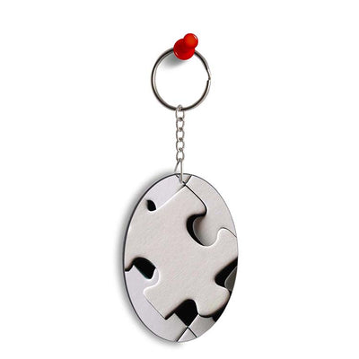 White Stylish Puzzle Oval Key Chain