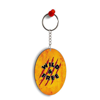 Wild and Free Oval Key Chain