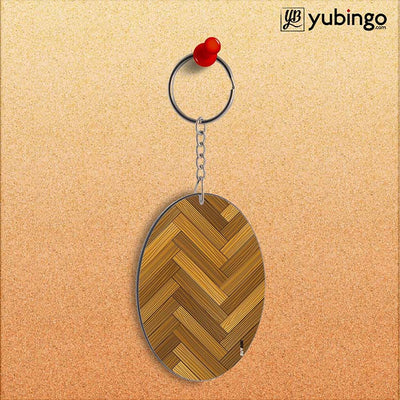 Wood Pattern Oval Key Chain-Image2
