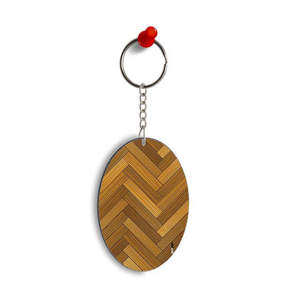 Wood Pattern Oval Key Chain