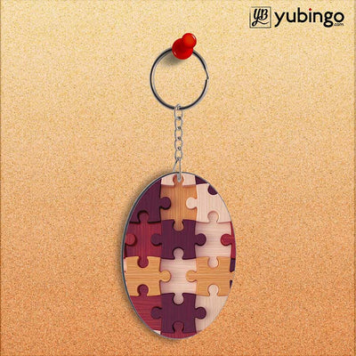 Wooden Jigsaw Oval Key Chain-Image2