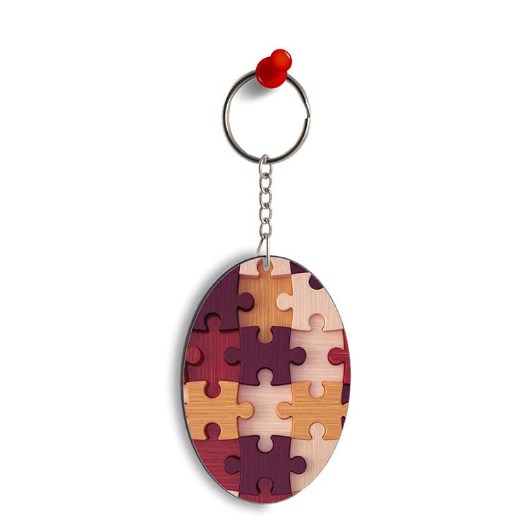 Wooden Jigsaw Oval Key Chain