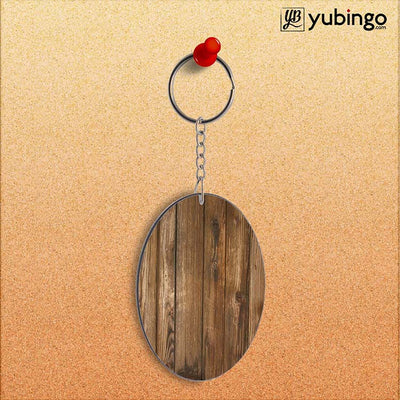 Wooden Pattern Oval Key Chain-Image2