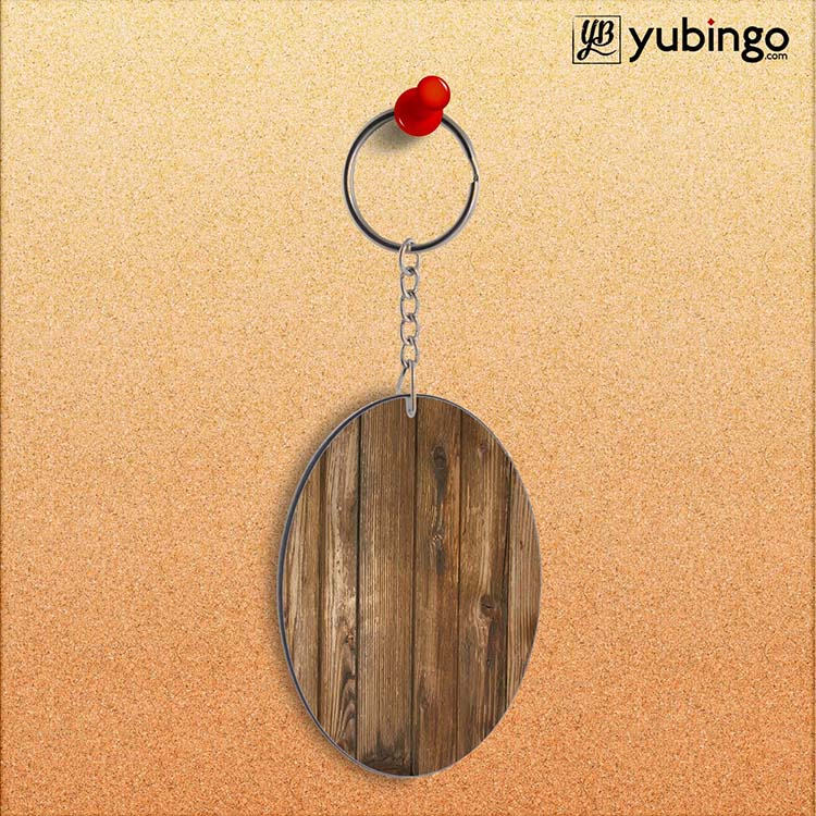 Wooden Pattern Oval Key Chain
