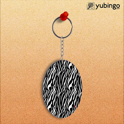 Zebra Stripes Oval Key Chain-Image2