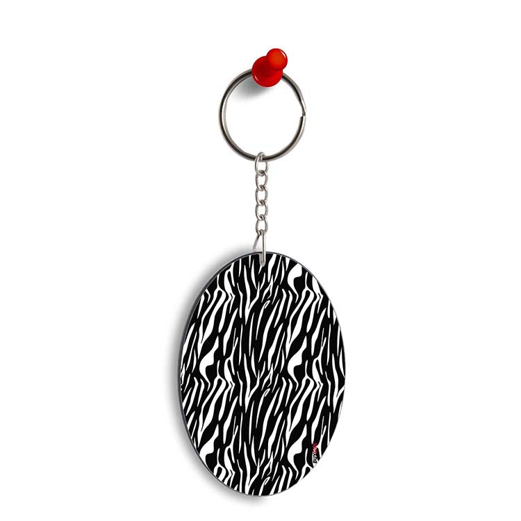 Zebra Stripes Oval Key Chain