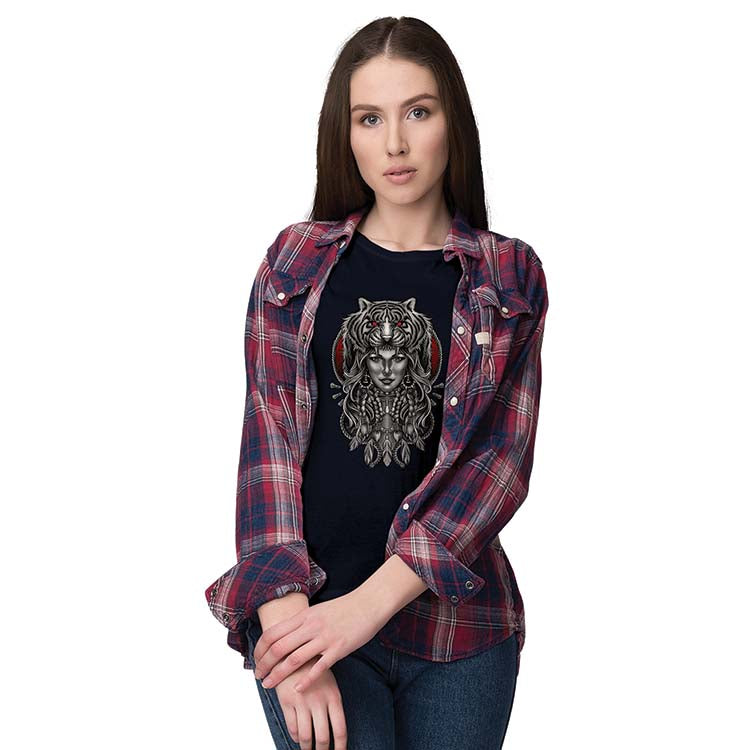 Charming Lady with Tiger Women T-Shirt-Maroon