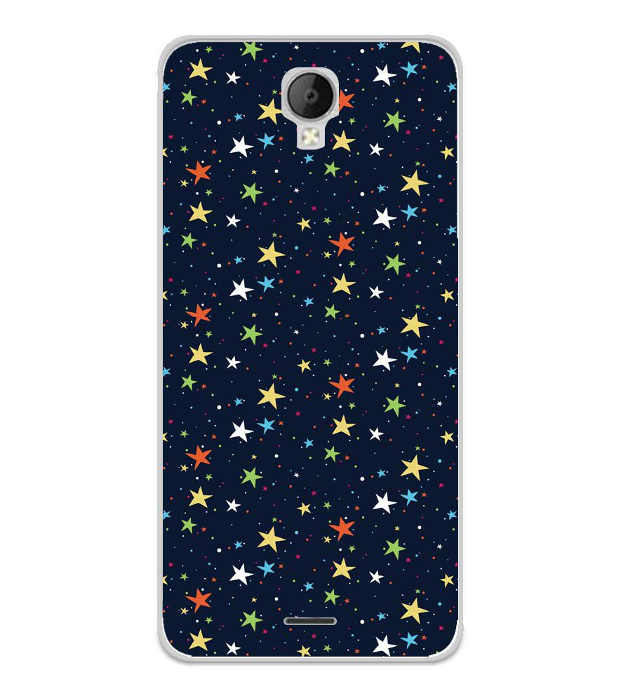 Colourful Stars Soft Silicone Back Cover for Micromax Spark Go