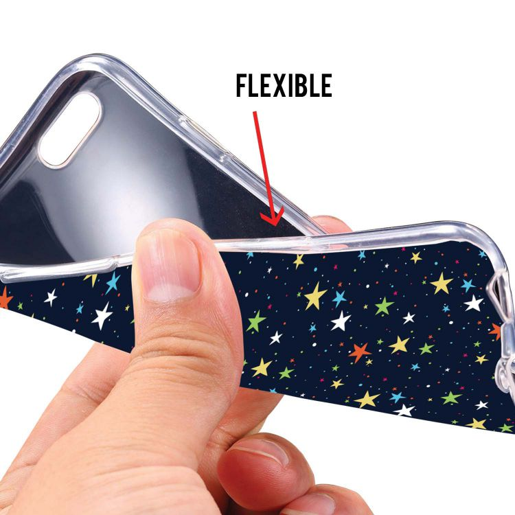 Colourful Stars Soft Silicone Back Cover for Intex Aqua 4G Mini