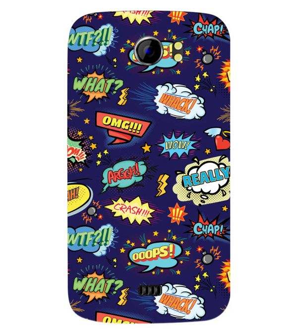 Comic Pattern Back Cover for Micromax A110 Canvas 2