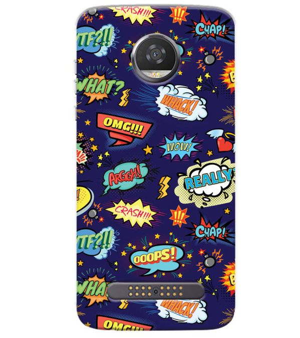 Comic Pattern Back Cover for Motorola Moto Z3 Play