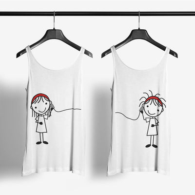 Connected Together Tank Tops-White