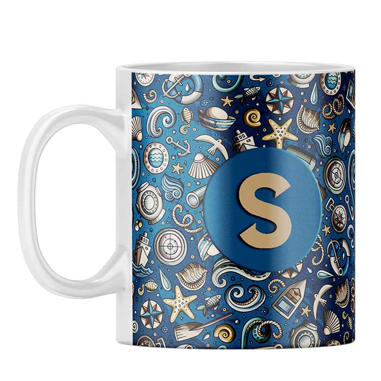 Cool Blue Customised Alphabet Coffee Mug