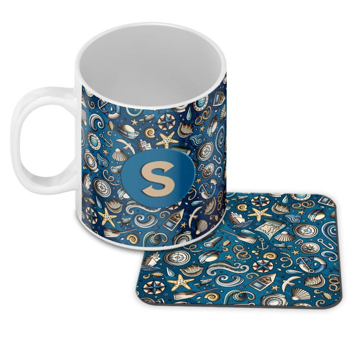 Cool Blue Customised Alphabet Coffee Mug With Coaster