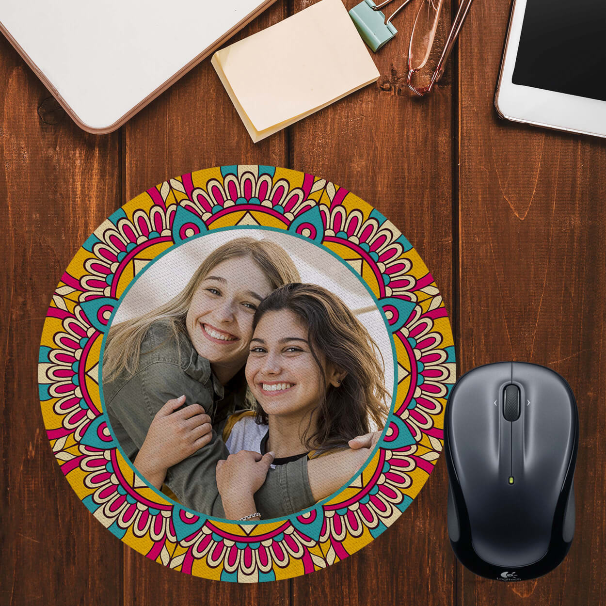 Cool Patterns Photo Mouse Pad (Round)