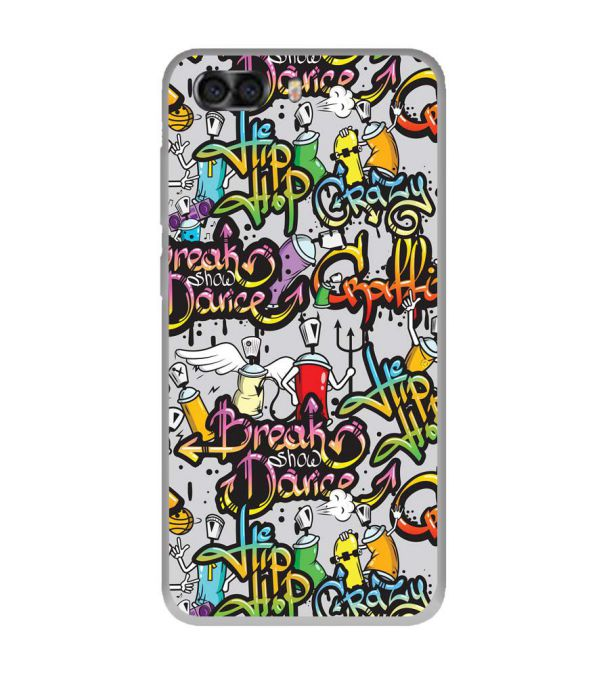 Crazy Graffiti Soft Silicone Back Cover for InFocus Turbo 5 Plus