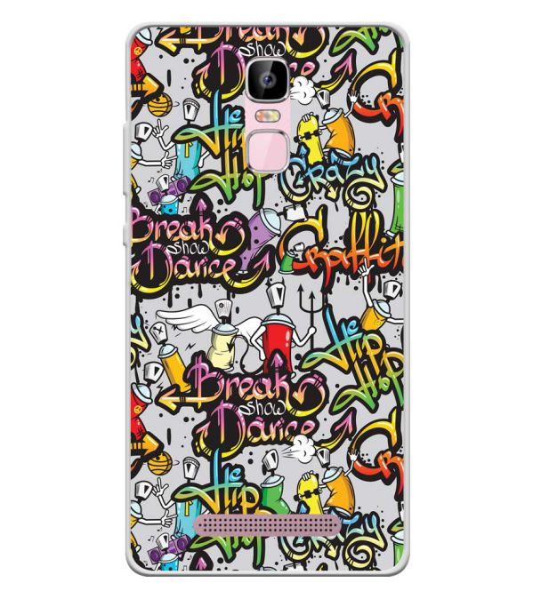 Crazy Graffiti Soft Silicone Back Cover for Zen Admire Sense Plus