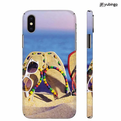 Cute Flip Flops On Beach Back Cover for Apple iPhone X