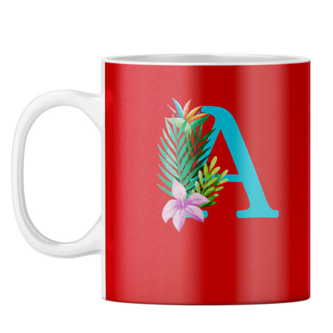 Flower Alphabet with Name Coffee Mug